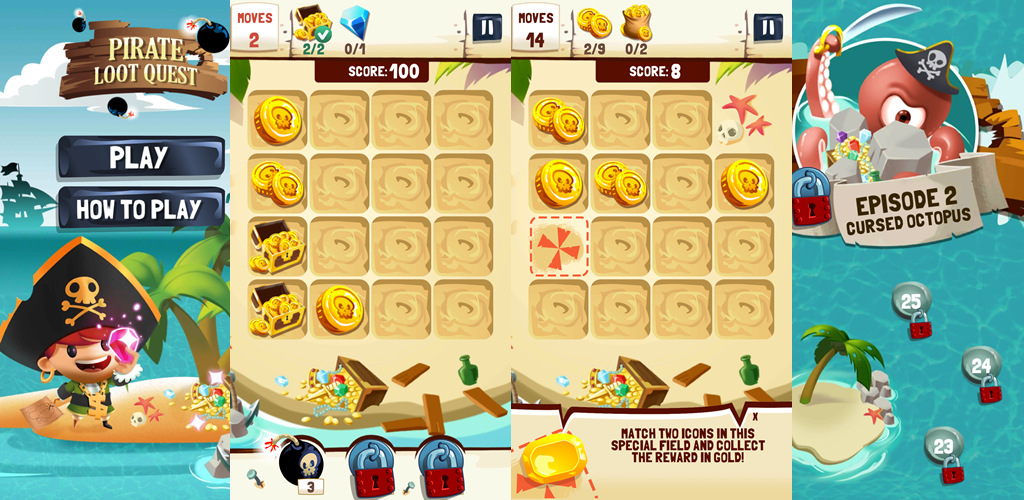 Pirate Loot Quest – 2048 genre game with solving puzzles quests